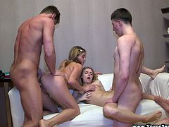 Two amazingly hot college girls get blindfolded by two guys and blow their cocks wildly before getting their perfect pussies completely smashed.