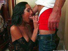 Chloe Amour knows that her husband is unfaithful. And its time to pay back. Raven haired hot sexy in black mesh crotchless pantyhose gets her tight pussy drilled by her husbands employee Daniel Hunter.