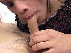 Perverted shemale whore gives head and fucks tight ass hole in sideways position