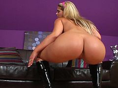Stiff toy cock is what makes young angel to moan so fine during her crazy cock riding masturbation solo show
