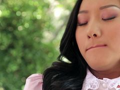 Prepare your cock for this Asian babe, with a nice ass wearing a maid uniform, while she goes really hardcore in different positions.