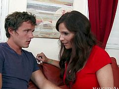 Syren De Mer is a nice looking busty mom of his best buddy. She seduces innocent virgin guy withe ease. Big racked mature seductress strips down to her panties and sucks his young dick with appetite.
