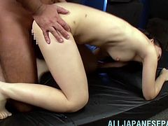 What are you waiting for? Watch this Asian brunette, with small boobs and a shaved twat, while she gets badly screwed and moans stridently.