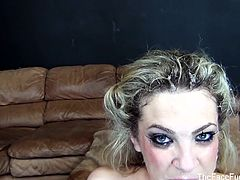 The Face Fuck Hour brings you a spectacularly hot free porn video where you can see how this tattooed blonde slut gets her face fucked hard and creamed on the couch.