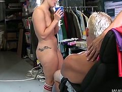 Black haired whorish chick licks saggy pussy of titless blondie. Then she kisses with another light haired tramp ardently. Hungry dawg watches them and is gonna fuck all of them hard...Watch that hot 4 some in My XXX Pass porn clip!