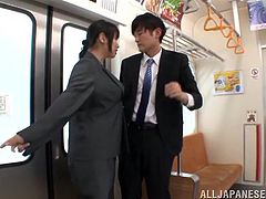 Hana Haruna is a juicy office chick. She gets seduced right in a subway train. She takes off her clothes and gives a blowjob to some dudes. This busty Japanese girl also gets fucked and facialed.