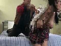 Hot schoolgirl with big pierced nips gets roughed up and spanked red