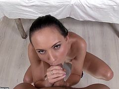 Nataly Von is one of the naughtiest brunettes you have ever seen. This sassy pornstar enjoys showing off her cock sucking skills and getting banged in doggy style.
