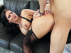 Kinky amazing sexy dark haired sex doll with nice boobs gets her dripping pussy fucked hard riding the cock in cowgirl pose and doggystyle. Have a look at thus chick in Twistys Hard sex clip.