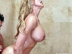 Big racked MILF Brandi Love joins her sons sexy buddy Seth Gamble in the shower and takes his rock solid dick in her dripping wet vagina. He loves banging his buddys big titted hot mom! Brandi Love is really insatiable