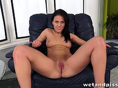 Get a load of this hot solo scene where the horny brunette Denise Sky pleases her pink shaved pussy with the help of her sex toys.