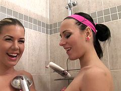 Take a look at this hot scene where these horny ladies take a shower together as they end up having sex in the bathroom.