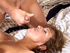 Horny MILF Mindy Hernandez gets gangbanged by three dudes who cum all over her face while her cuckold husband sits and enjoys the show.