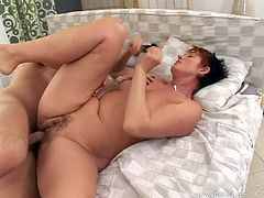 Kinky short-haired mature lady Cica is getting naughty with a guy indoors. She gives him a blowjob, then spreads her legs wide apart and welcomes the man's schlong in her hot depths.