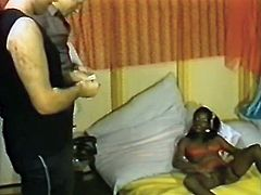 Zealous ebony gal seized those staff cocks tight in her hands and got to blow them hard. Look at that steamy FMM fuck in The Classic Porn sex clip!