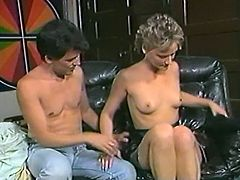 Titless fair haired cougar gets her hairy pussy licked ardently