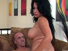 Desirable raven-haired goddess wearing black lace stockings blows juicy cock and rides in on top. Then she gets her tight kitty pounded doggystyle and mish.