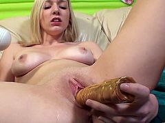 The gorgeous Rylie Richman gets fingered until she squirts all over the couch after sucking a big cock with her sexy friend Tanner Mayes.