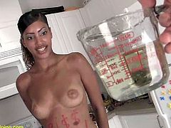 Sexy Ebony With Handcuffs Is Forced To Piss And Drink It
