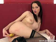 A brunette girl in stockings shows her pussy in close up scenes and also pumps it. Then Chelsy starts to push a cucumber deep inside.