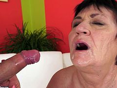 A sexy, mature woman with big, natural tits and a shaved pussy enjoys a hardcore, doggy style fuck. Hear her scream with pleasure now!