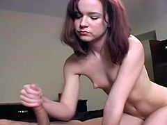 With slow moves and much sensuality is how petite cutie gives serious handjob to one stiff cock