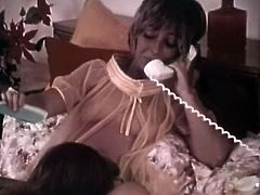 Dark haired shameless filthy with big tits seduced horny man of her pal and rode his cock hard in cowgirl position.Meanwhile she talked with that stupid friend by phone. Have a look at that dirty bitch in The Classic Porn sex video!