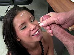Salacious raven-haired babe sucks tremendous cock and gets her wet pussy fucked doggystyle. Then she gets banged mish and rides that cock on top until dude cums on her face.