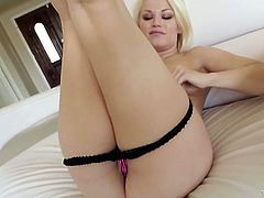 Light haired bitchy gal with nice tits and hot look pleased her thirsting vagina with fingers. A bit later she presented good BJ to her guy. Have a look at that sexy tramp in My XXX Pass porn video!