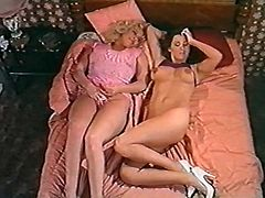 Light haired torrid filth with sexy body enjoyed licking throbbing vagina of her torrid brunette pal in 69 position. Have a look at that steamy lesbo sex in The Classic Porn sex clip!