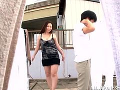 A curvy Japanese girl lifts a skirt up and sits down on guy's face. Sayuki gives a handjob while getting her pussy licked.