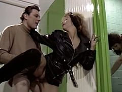 Lusty biker sluts have dirty group sex in dirty public toilet