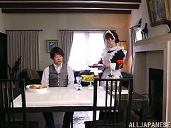 Check out this hardcore scene where the horny Asian maid Miku Ohashi being fucked by a guy while still wearing her uniform.