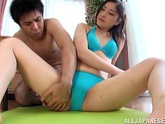Pale-skinned brunette temptress wearing blue lingerie gets seduced by horny dude and he massages her small boobies. Then she provides his with awesome blowjob in POV video.