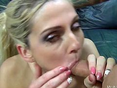 Busty blonde Christie Stevens rides her lover's dick like a cowgirl