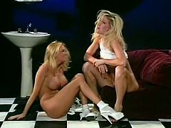 Long and light haired cutie with big boobies licks sweet nipples of her torrid kooky right at table. Meanwhile she gets her kitty licked from behind by the third kinky bitch. Look at that nasty lesbo 3 some in The Classic Porn sex clip!