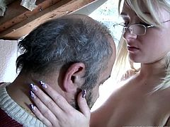 He couldn't get any luckier than this sex session happened near the garage. We can see this slim sexy teen with her pretty face fucking lovely with this dirty old man .