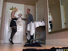 The amazingly sexy maid Kagney Linn Karter gives Keiran Lee the best room service as she gets her tight little ass completely rammed.