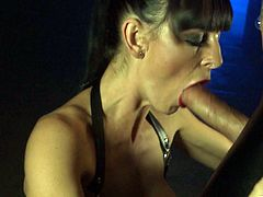 Two captivating chicks, wearing leather outfits, whip a masked guy in a basement. Then the stud fucks the sluts' cunts by turns and they moan loudly with pleasure.