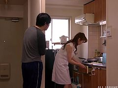 Make sure you get a load of this hardcore scene where this sexy Japanese housewife is eaten out and fucked by her horny husband.