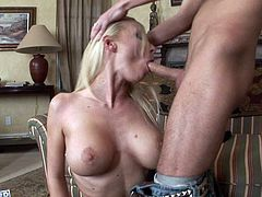 No other slut can please cock with tongue and lips like this blonde does. Cock crazed blondie sucks her lover's dick like a seasoned pro to get it hard and ready. When she gets what she wants, she takes his hard cock from behind.