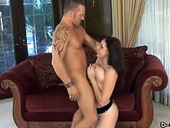 A pretty pornstar with big tits and a hot body enjoys a hardcore, cowgirl style fuck. Hear her scream with pleasure now!