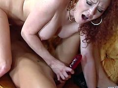A fuckin' slutty ass bitch sucks on a hard cock and then takes it balls deep into her fuckin' gash, check it out right here!