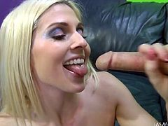 This lascivious blonde looks absolutely perfect. She has a nice set of big breasts, perfect waist and a nicely shaped booty. Horny dude bangs her in sideways position. She spices things up with a blowjob. Then he fucks her tight pink puss in missionary position.