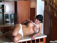 MuffX brings you a hell of a free porn video where you can see how the hot brunette Emma Mae strips and provokes with her tits while assuming very interesting poses.