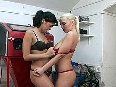 Torrid brunette seductress and blonde sexpot start kissing. Afterwards sapphic divas eat each other's dripping wet poontangs and impale them with dildo.