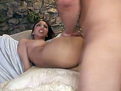 Torrid and filthy brunette Alexis Love gets pounded hard missionary style by a well hung stud and ends up with a big load of cum in her mouth.