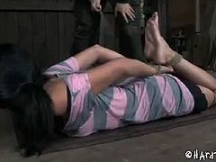 Sexy tattoed teenie Juliette Black is finally ready for a hardcore BDSM training with her boss. He punished her tight pussy and made her scream loud as fuck.