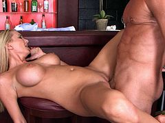 If your client offers you sex in exchange for a Bloody Mary cocktail, better hope she's as cool as Blake Rose. Stunning blonde with huge tits needs a good pussy workout and this lonely bartender is here to fuck her tight pussy. He bends her over the chair and fucks her really hard.