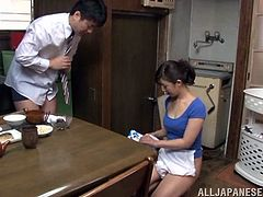 Check out this hardcore scene where the horny Asian housewife Yuuki Itano is fucked by her man after she sucks on his hard cock.